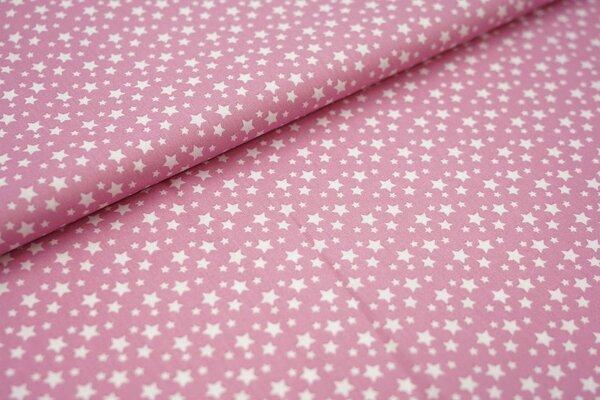 Baumwollstoff Baumwolle altrosa mit weißen Sternen