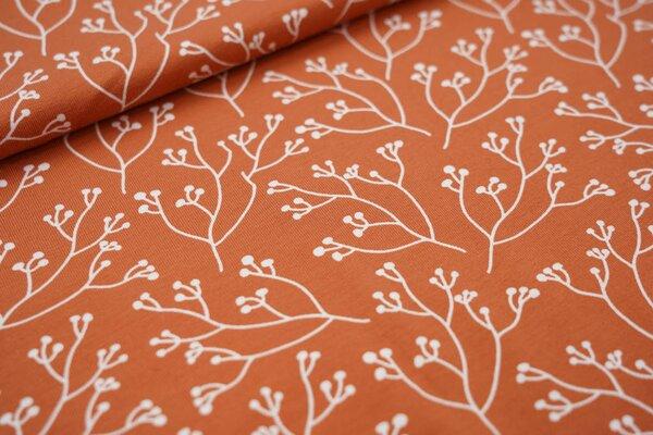Baumwoll-Jersey Zweige rostorange / weiß