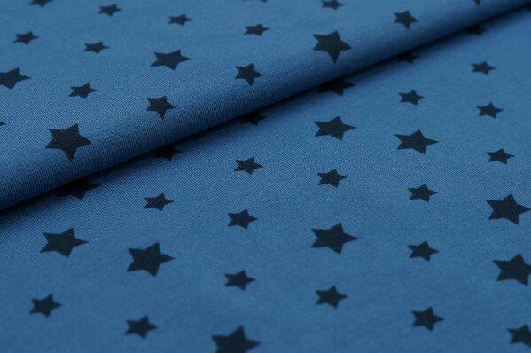 Baumwoll-Jersey dunkelblaue Sterne auf taupe blau
