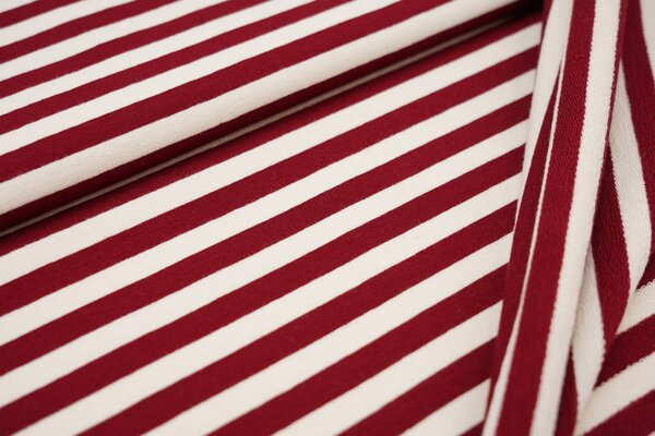 XXL Baumwoll-Sweat MARIE Streifen Ringel breit bordeaux rot und off white