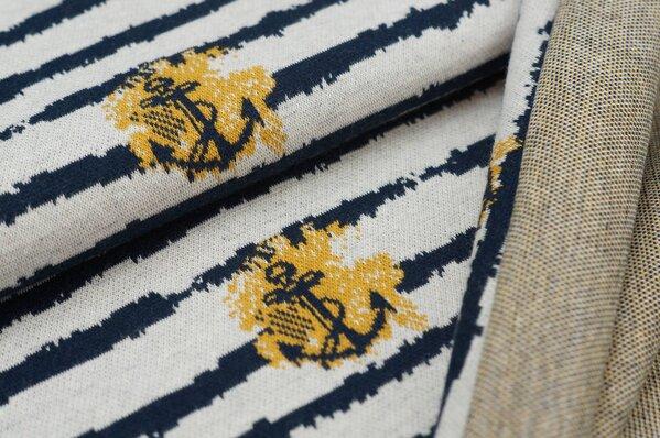 Jacquard-Sweat Ben Anker / Streifen navy blau / senf / off white