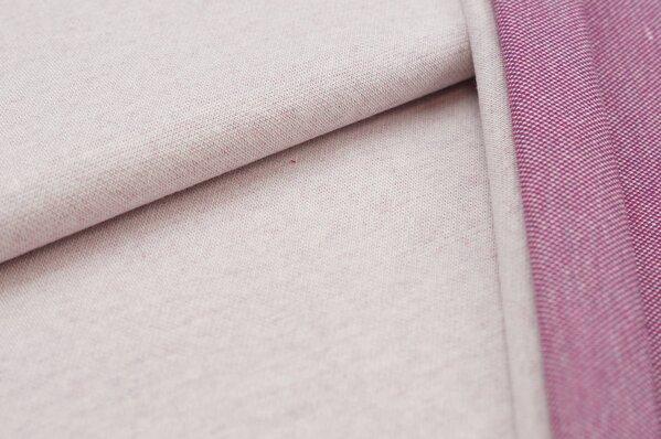 Jacquard-Sweat Ben off white Uni mit amarant pink lila und off white Rückseite