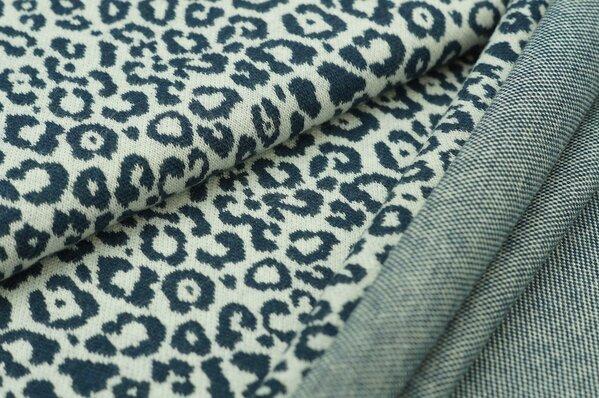 Jacquard-Sweat Mia leoparden muster navy blau Melange auf off white