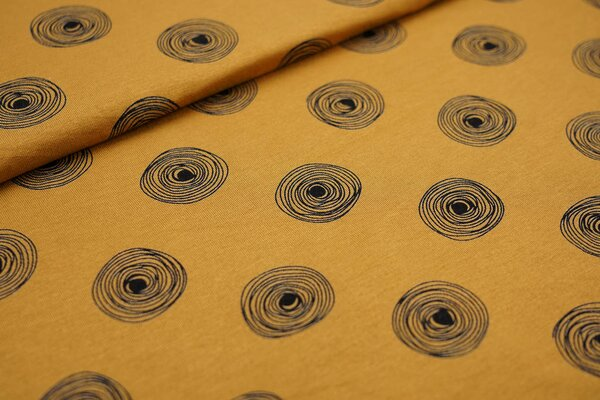 Viskose-Jersey große dunkelblaue Kreise Punkte auf senf ockergelb
