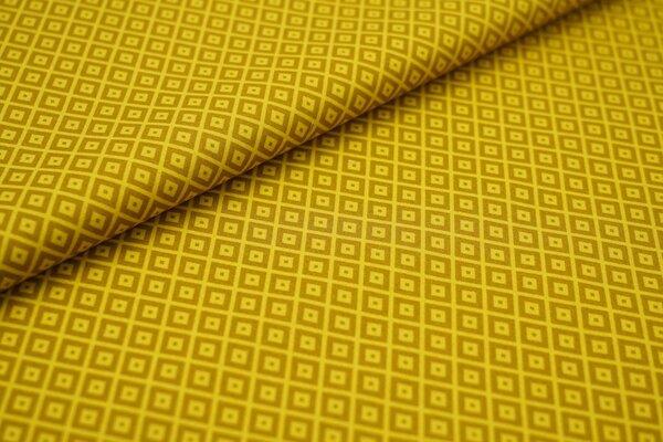 Baumwolle abstraktes Retro Muster Vierecke Geometrie senf / ocker