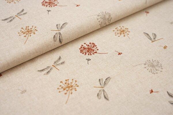 Canvas-Stoff Dekostoff in Leinenoptik Pusteblumen und Libellen auf natur
