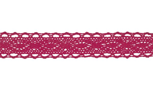 Baumwolle Spitzenborte Häkelborte uni fuchsia pink 25 mm breit Klöppelspitze