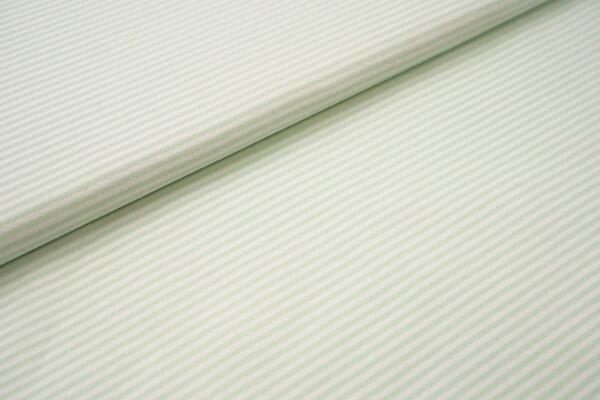 Baumwoll-Jersey Streifen Ringel creme offe white / mint