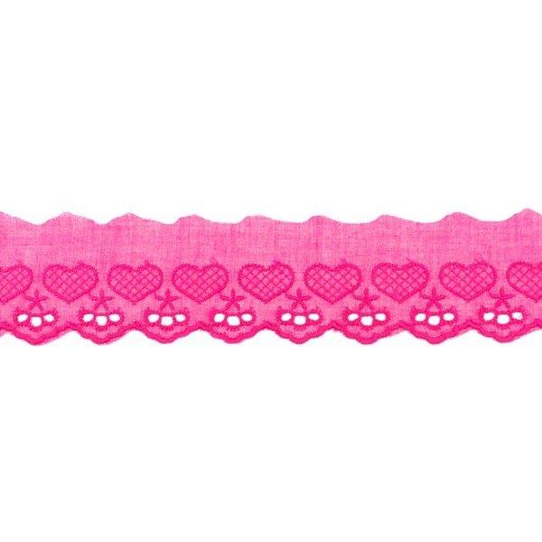 Baumwoll Spitze mit Herzen und Sternen pink Spitzenbordüre Borte