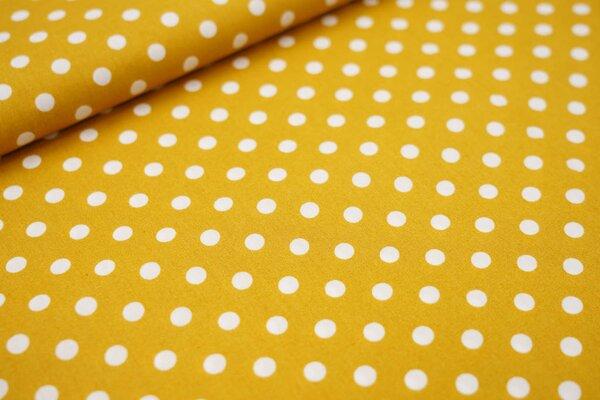 Baumwollstoff Baumwolle große Punkte senf ocker / weiß