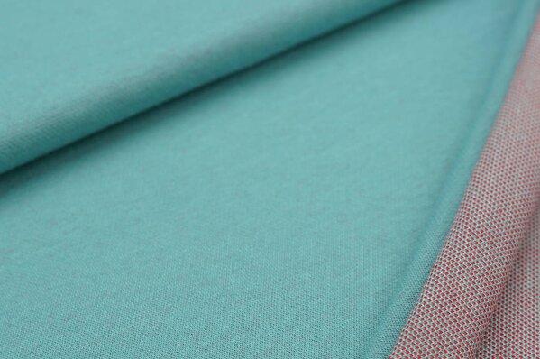Jacquard-Sweat Ben eisblau Uni mit off white und roter Rückseite