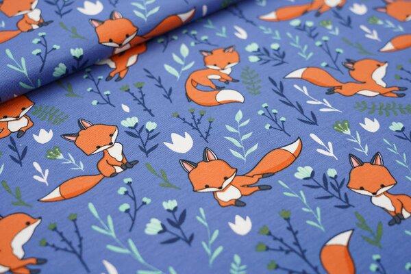 Baumwoll-Jersey Füchse und Blumen auf taupe blau Fuchs Blätter