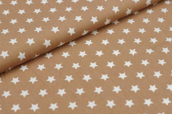 Baumwollstoff Baumwolle kleine Sterne hellbraun / weiß