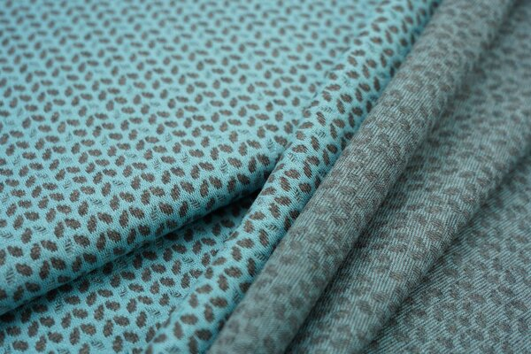 Jacquard-Jersey kleine dunkelgraue Blätter auf eisblau