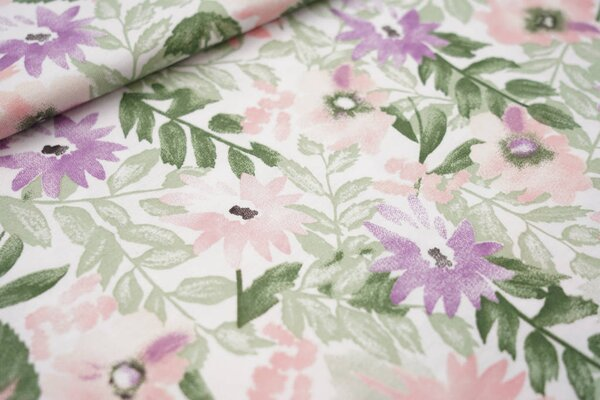 Sommer T-Shirt-Stoff / leichter Jersey Aquarell Blumen weiß lila lachs grün