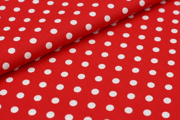 Baumwollstoff Baumwolle große Punkte rot / weiß