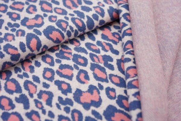 Jacquard-Jersey Leoparden Design off white / taupe blau / koralle