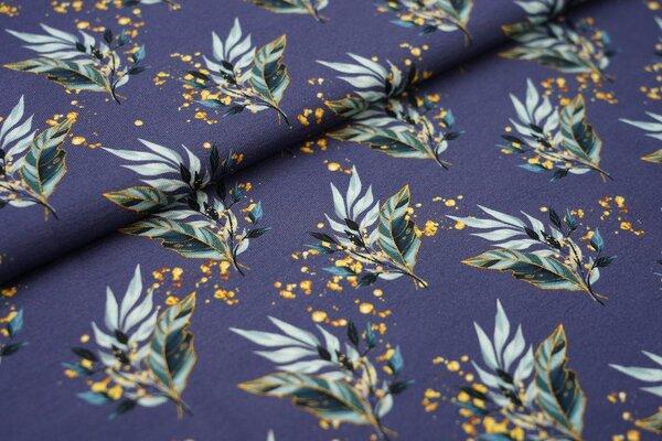 Baumwoll-Jersey Blumen Pflanzen Blätter altmint blau senfgelb