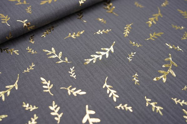 Musselin Stoff Double Gauze dunkelgrau mit goldenen Zweigen