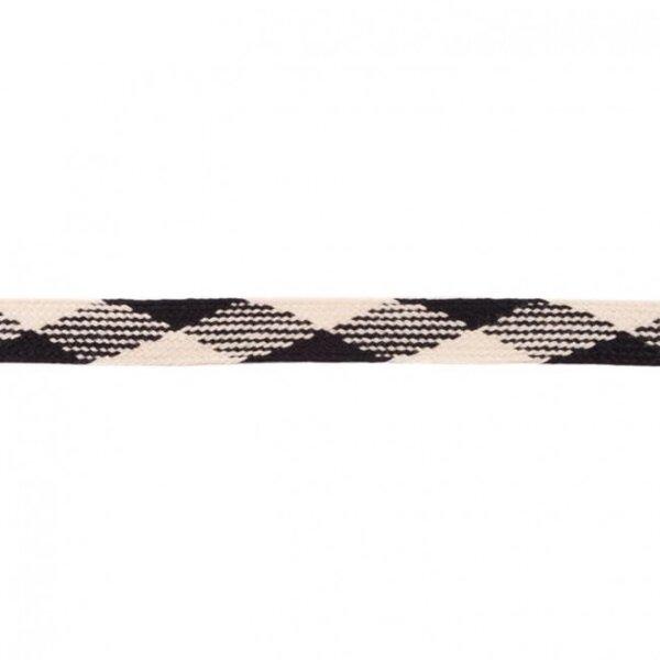 Kordel flach kariert schwarz / ecru 20 mm breit