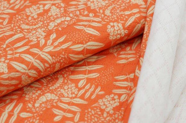 Stepp-Stoff Digitaldruck Blätter-Muster pastell orange / beige Steppsweat