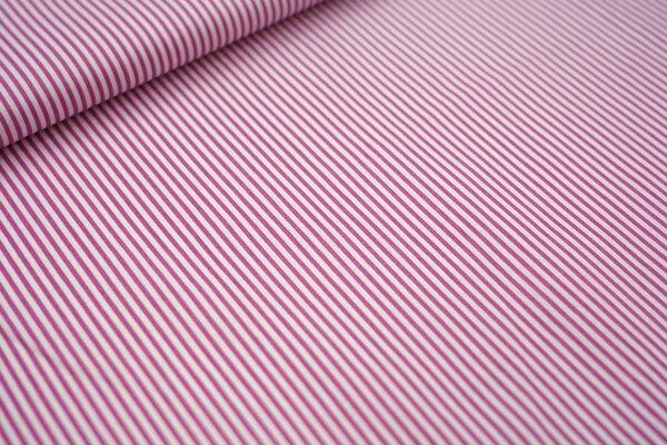 Baumwollstoff Streifen dunkel altrosa / weiß Ringel Baumwolle