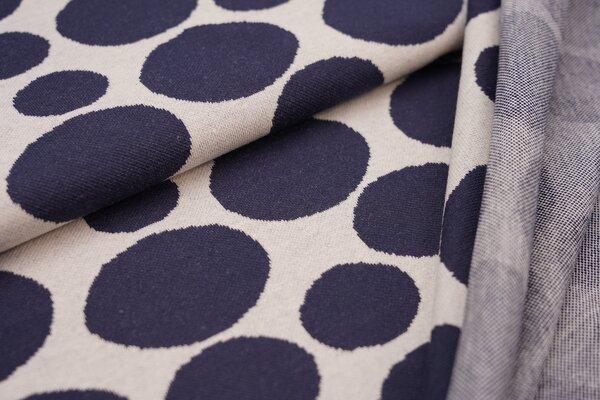 Jacquard-Jersey große Kreise Punkte Tupfen navy dunkelblau auf off white
