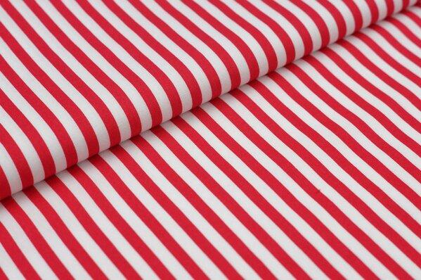Baumwollstoff Baumwolle Streifen rot / weiß