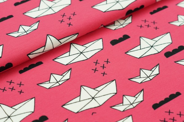 Jersey Origami Boote coral / weiß