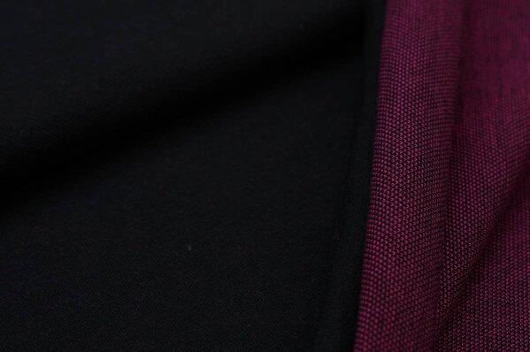 Jacquard-Sweat Ben schwarz Uni mit amarant pink und schwarz Rückseite