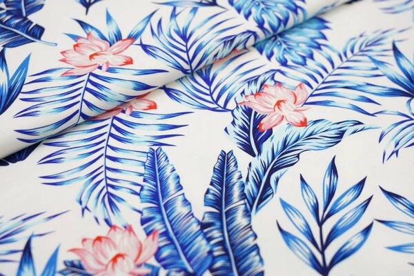 Baumwoll-Jersey Digitaldruck Farne Blumen Blätter off white / blau / koralle