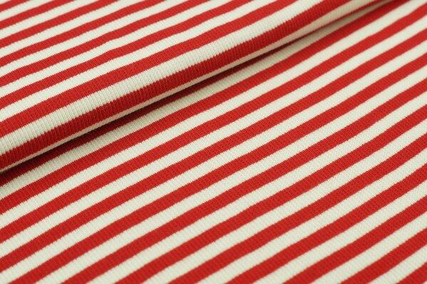 Ringelbündchen Marie rot / off white Streifen
