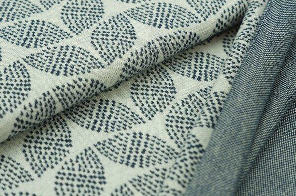 Jacquard-Sweat Mia navy blau Melange Blätter Muster auf off white