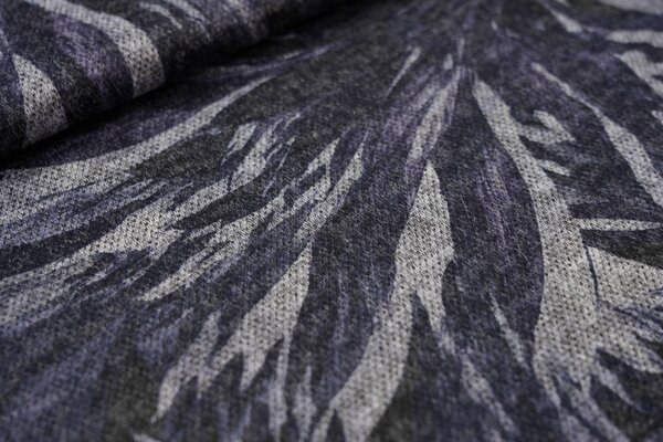 Feiner Strickstoff gebürstet Blumenmuster abstrakt blau schwarz grau meliert