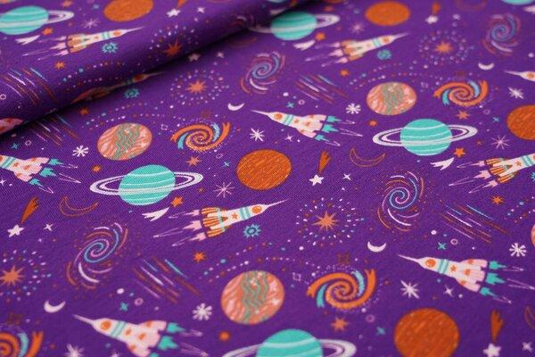 Baumwoll-Jersey Weltall Raketeten Planeten Sterne Mond auf lila