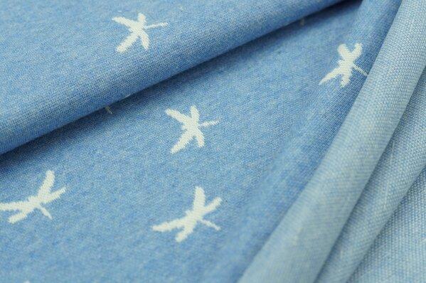 Jacquard-Sweat Mia off white Libellen auf pastell jeansblau Melange