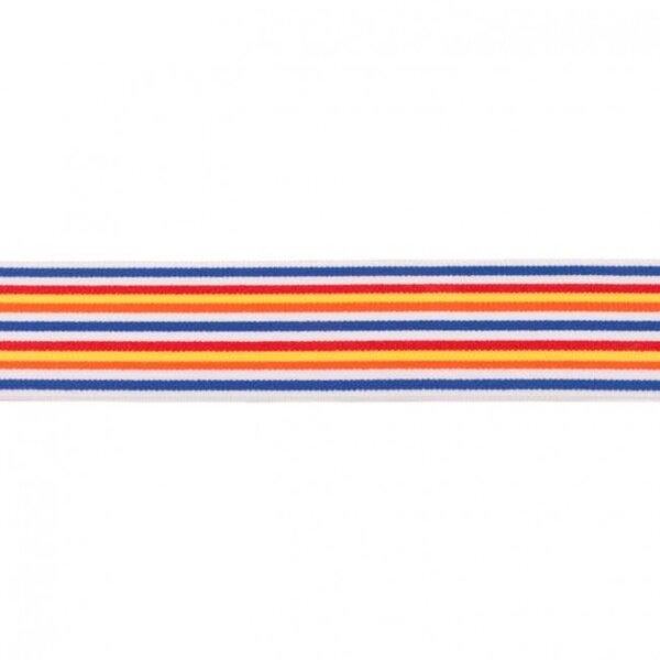 Breites Gummiband bunte schmale Regenbogen Streifen 5-farbig mit weiß blau 40 mm