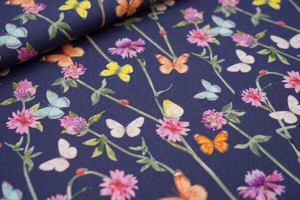 Baumwollstoff bunte Schmetterlinge und Blumen auf dunkelblau