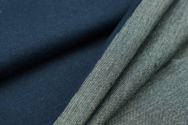 Jacquard-Sweat Ben navy blau Uni mit navy blau und off white Rückseite