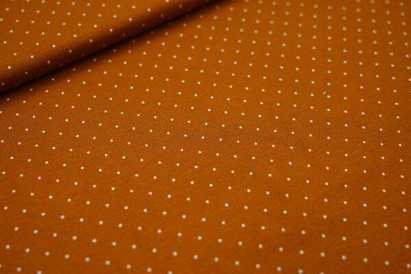 Viskose-Jersey kleine Punkte orangebraun / weiß