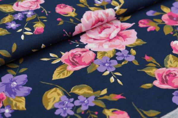 Baumwoll-Jerseystoff mit Rosen dunkelblau / rosa / olivgrün / lila