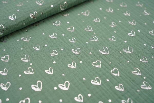 Musselin Stoff Double Gauze altgrün mit silbernen Herzen und Punkten