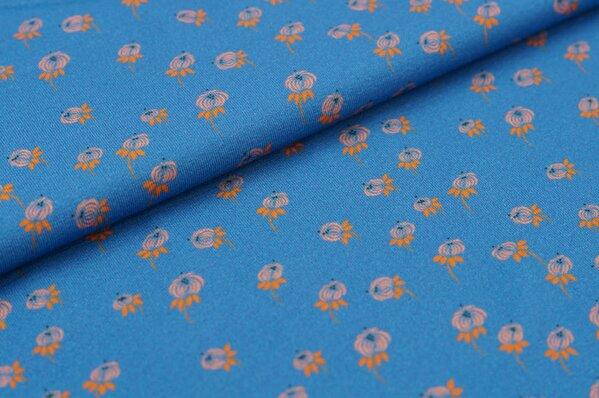 Baumwoll-Jersey Digitaldruck kleines Blumen-Muster blau / koralle orange