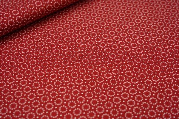 Baumwoll-Stoff weiße Kreise und Punkte auf dunkelrot