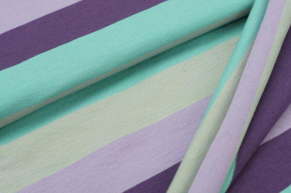 Jersey Marie Blockstreifen hellgrau eisblau hell und dunkel lila