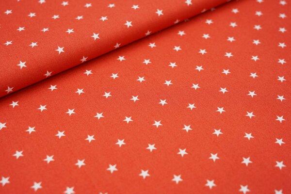 Baumwolle weiße Sterne auf hellrot rostrot