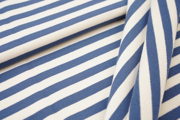 Traumbeere XXL Baumwoll-Sweat Marie Streifen Ringel mittel taupeblau und off white