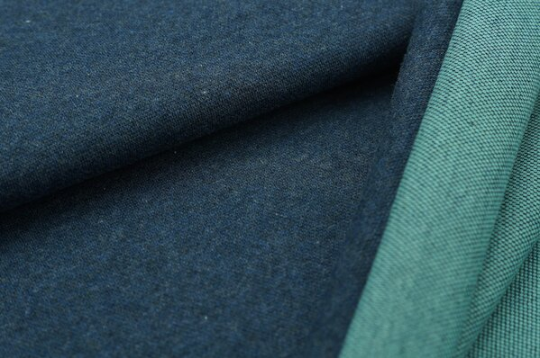 Jacquard-Sweat Mia navy blau Melange Uni mit eisblau und navy blau Rückseite
