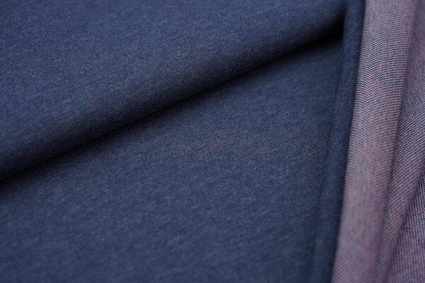 Jacquard-Sweat Mia navy blau Melange Uni mit eisblau und koralle Rückseite