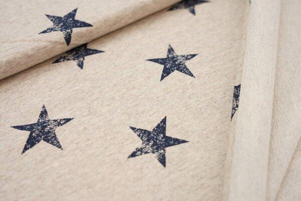 Baumwoll-Sweat dunkelblaue Sterne auf beige meliert maritim